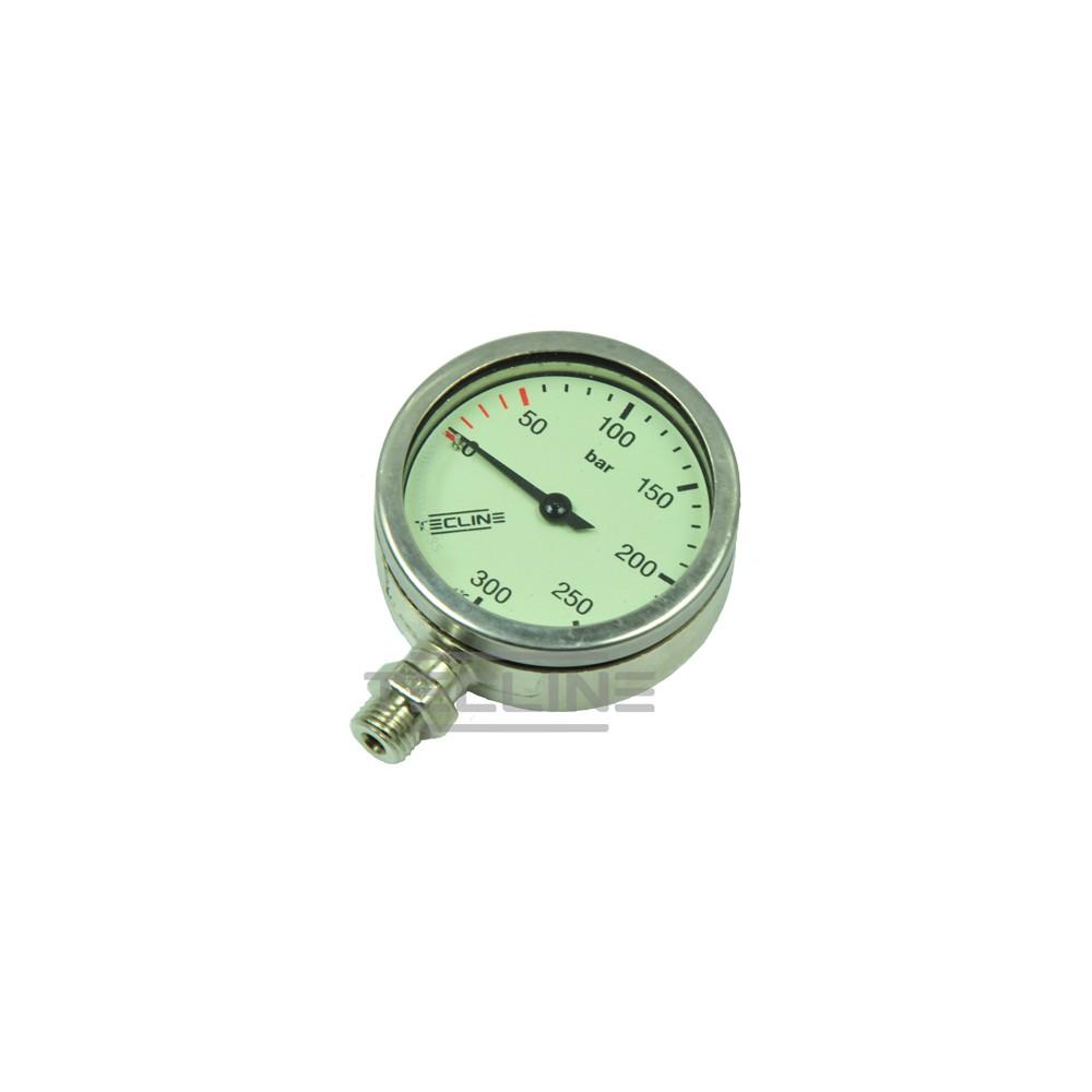 Tecline Manometr 63 mm, skala 300 bar, ciśnienie robocze 230 bar, nikiel - głowica