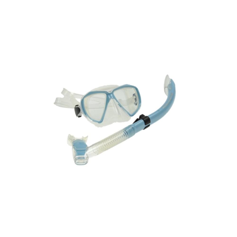 Maska Viper bezbarwna-błękitna + rurka SK 08