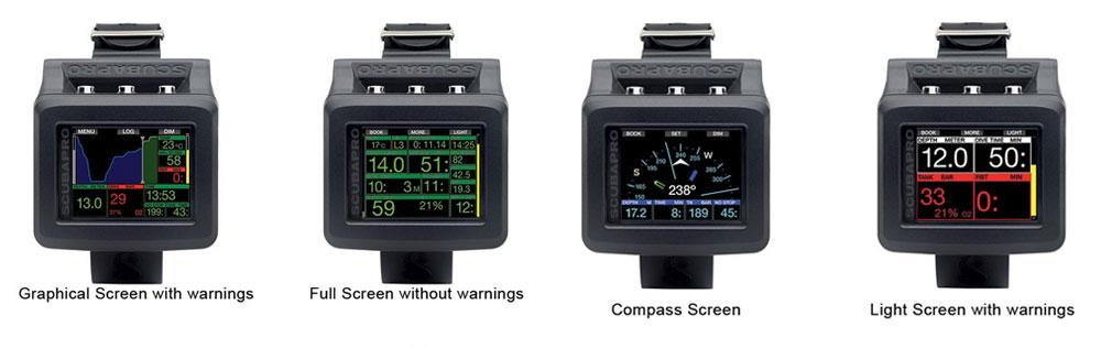 Scubapro G2 - ustawienia ekranu