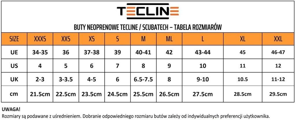 Tabela rozmiarowa butów Scubatech/Tecline