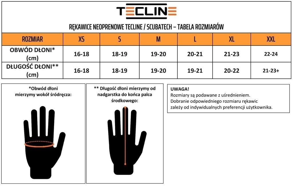 tabela rozmiarowa rękawice nurkowe