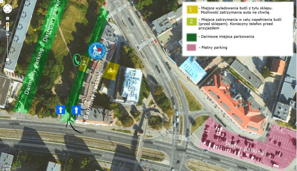 miejsca parkingowe dojazd sklep nurkowy  aquamatic.pl